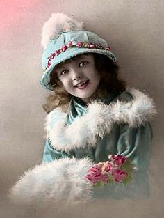 Photo Cabinet Card Vintage 1907 Girl in Blue with Feather trim