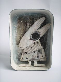 Original Art by Colette Bain - Emmas Wolf. Mixed media sculptures using mainly papier-mâché and vintage tins.