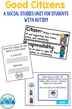 This Good Citizens unit is jam packed with differentiated materials to teach hard concepts such as community, government, and voting. Nonwriters can participate too! This pack is aligned with 1st and 2nd grade Virginia SOLs and contains a suggested unit guide. Good Citizen, Student Behavior, Do What Is Right, Special Needs, Special Education, Social Studies, Back To School, Virginia, Study