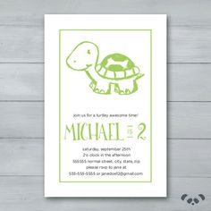 Turtle Birthday Party Invitation    Turtle by PandafunkCreations