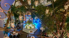 Gorgeous view of our courtyard at night for a wedding #HotelMazarin  Upbeat Southern Garden Fête | New Orleans, LA