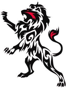 Rampant Lion Tribal Tattoo by WildSpiritWolf on DeviantArt Tattoo P, Leo Tattoos, Tatoo Art, Future Tattoos, Animal Tattoos, Crest Tattoo, Wing Tattoos, Celtic Tattoos, Sleeve Tattoos