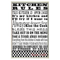 Found it at Wayfair - Kitchen Rules Typography Wall Plaque