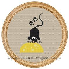 Cross Stitch Pattern PDF mouse and cheese DD0105