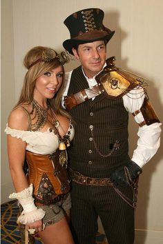 "cloggo: ""STEAMPUNK Fair's Fair. He wears the Top Hat so she gets to wear the Brass Goggles By DalaiMickey """