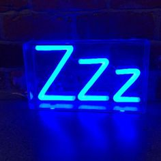 ZZZ Blue Neon Light Sign in Clear Acrylic Box for Sale! Small LED neon light sign in a clear box, perfect for use as a neon lamp or night light.