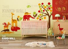 Nursery Wall Decal Vinyl Wall Sticker tree decal  Zoo by KinkyWall, $168.00