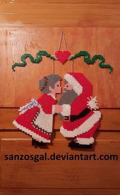 Santa & Mrs door hang perler beads (finished) by sanzosgal