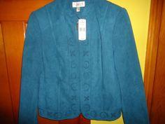 NWT Ladies Conrad C Nordstrom Zip Jacket.  Size 6. Dark Teal Suede.  MSRP $118 #ConradC #BasicJacket