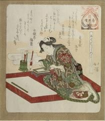 Woman Preparing for the First Calligraphy of the Year (Kakizome) - Toyota Hokkei