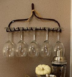 Wine Glass holder made from and old rake.  Whimsically Homemade