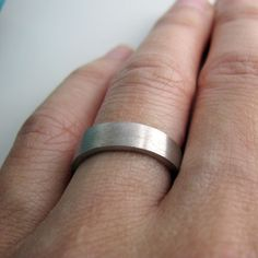 Wedding Ring With Signature Brushed Strokes White Gold Plated Over 925 Sterling Silver Modern Flat 5 6mm Wide Engravable