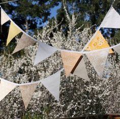 Large Banner, Party Flags in Cream, Beige, and Yellow. Designer's Choice Garland Bunting, Photo Prop.