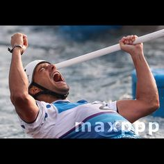 Denis Gargaud Chanut of France celebrates winning the men's Canoe Single (C1) Final race of the Rio 2016 Olympic Games Canoe Slalom events at the Whitewater Stadium in Rio de Janeiro Brazil 09 August 2016. EPA/ANTONIO LACERDA (MaxPPP #photo #photos #pic #pics #picture #pictures #art #beautiful #instagood #picoftheday #photooftheday #color #exposure #composition #focus #capture #moment #sport #photojournalism #photojournalisme #maxppp #jo #jo2016 #rio #rio2016 #olympics #olympic…