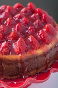 Fresh Strawberry Cheesecake Recipe. This strawberry cheesecake recipe is creamy and delicious and topped with fresh strawberries. It's the perfect treat to offer someone when visiting.