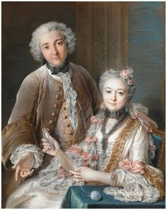 Charles Antoine Coypel (French, 1694 – 1752) «Double Portrait Presumed to Represent Francois de Jullienne (1722–1754) and His Wife (Marie Elisabeth de Sere de Rieux, 1724–1795)» 1743