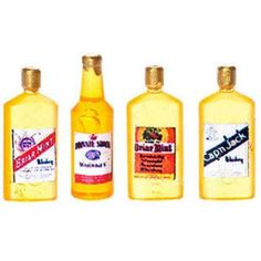 FARROW MINIATURES - 1 Inch Scale Dollhouse Miniature - 3 Vintage Whiskey Bottles (FR40313)