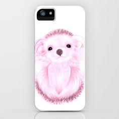 Baby Hedgehog- Pink iPhone Case by Veronica Ventress - $35.00