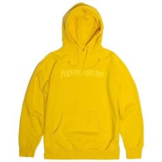 Embroidered Logo Hood Yellow on Yellow ($80) ❤ liked on Polyvore featuring tops, hooded top and yellow top