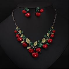 New Arrival Fashion Exquisite Cute Red Cherry Necklace And Drop Earrings Sets Alloy Fashion Statement Jewelry Sets for women