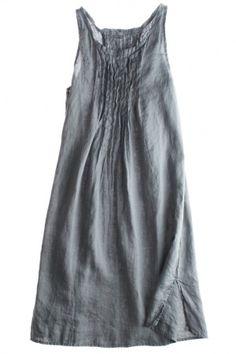 Pema Tank Dress: Linen, $165, white/anise/navy