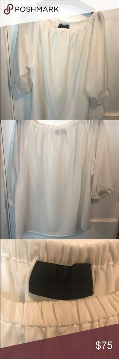 Long sleeve off the shoulder blouse Off the shoulder white summer blouse!! New o my worn once!! blaque label Tops Blouses