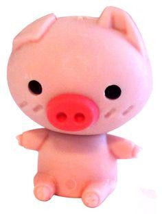 Kawaii Pig Mini Eraser: Pink