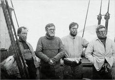 Aboard the Nimrod - Frank Wild, Ernest Shackleton, Eric Marshall, and Jameson Adams.