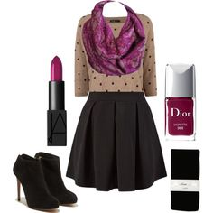 A fashion look from November 2014 featuring polka dot sweaters, short mini skirts and wet look stockings. Browse and shop related looks. Infinity Scarf Outfits, Semi Casual, Polka Dot Sweater, Wet Look, Moonlight, Magenta, Fashion Inspiration, Fashion Looks, Mini Skirts