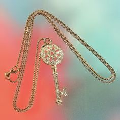 """Clear Crystal Pave Gold Key Pendant Necklace Here it is the moment you've all been waiting for yes that's right, the golden Crystal pave key to my heart.. and with it a lovely 18"""" gold tone box chain. Rhinestones & Razorblades  Jewelry Necklaces"""