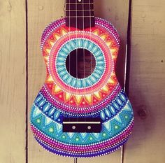 Hand painted dottilism mandala ukulele by SaltyHippieArt on Etsy                                                                                                                                                                                 More