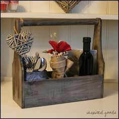 French Style Vintage Rustic Wooden Storage Carrier Box - Shabby Chic Bottle Holder