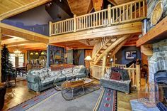 "WOW! What more can we say about this exceptional True North Log Home great room! ""RE-pin"" if you can picture yourself here!"