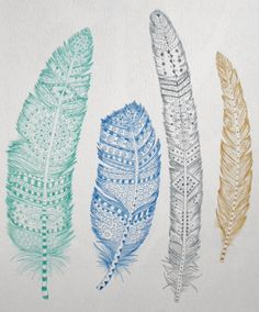 4 Feathers in Blue Green Gold Gray Print 8 x 10 Back to Nature Henna Doodles on Etsy, $10.60 CAD
