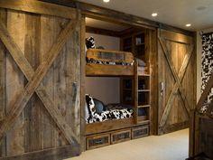 Rustic Home Decorating Ideas #13 - Rustic Barn Door Bed #16222 ...