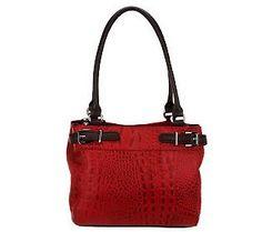 5a4bb3f5b8 Purses · Tignanello Croco Embossed Leather Triple Compartment Shopper  Leather Design