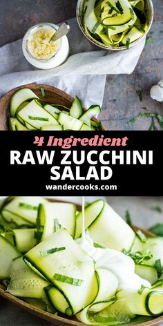 Just 4 ingredients are needed for this light and refreshing Raw Zucchini Salad (also known as Salade de Courgettes). It's such an easy cold salad recipe, you can whip it up in just 5 minutes! Enjoy as a healthy lunch or side Summer salad. Easy Summer Salads, Summer Salad Recipes, Easy Salad Recipes, Easy Salads, Healthy Salads, Vegetarian Recipes, Raw Zucchini Salad, 5 Minute Meals, Dinner Salads