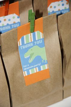 Thank you for a dino-mite party Dinosaur Train Party, Dinosaur Birthday Party, Boy Birthday Parties, 3rd Birthday, Dinosaur Party Supplies, Dinosaur Party Favors, Ideas Bautismo, Dinasour Birthday, Birthday Gift Bags
