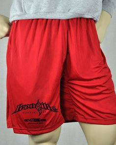 8ca3fcf6e10 Ironville Bodybuilding Gym Shorts - Red - Horizontal Logo Weightlifting  Gym