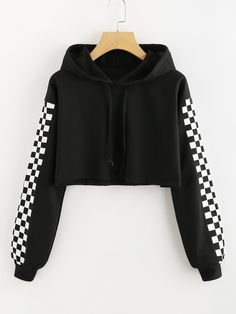 To find out about the Contrast Checked Sleeve Crop Hoodie at SHEIN, part of our latestSweatshirts ready to shop online New Arrivals Dropped Daily. Girls Fashion Clothes, Teen Fashion Outfits, Mode Outfits, Girl Fashion, Girl Outfits, Fashion Black, Crop Top Outfits, Cute Casual Outfits, Stylish Outfits
