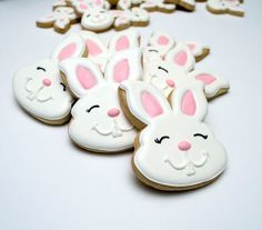 Decorated Cookies - Easter - Rabbits - Easter Bunnies - 1 DOZEN - Miller is Home Fancy Cookies, Cut Out Cookies, Royal Icing Cookies, Holiday Cookies, Cupcake Cookies, Sugar Cookies, Cookies Et Biscuits, Cupcakes, Easter Cookies