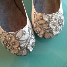 French Knot Lace Bridal Ballet Flats Wedding Shoes - All Full Sizes - Pick your own shoe color and crystal color