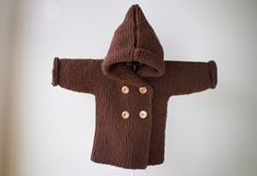 Hand Knitted Baby Hoodie / Hoodie with by RocoKnitwearIreland