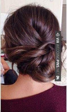 Side Bun Wedding Hair Bridesmaid hair idea- Wedding updo sidebun