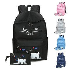 2 Pcs/Set Fashion Korean Student Backpack Lovely Cat Printing Shoulder Bag Waterproof Double Zipper Girls School Bags BS #Affiliate Korean Student, School Bags For Girls, Impression, Women's Bags, Printing, Backpacks, Shoulder Bag, Zipper, Fashion