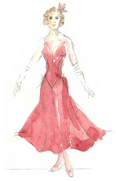 William Ivey Long's sketch for Elizabeth (Meg Mullally) in Young Frankenstein. Theatre Costumes, Cool Costumes, Costume Ideas, Fashion Illustrations, Fashion Sketches, Rendering Techniques, Young Frankenstein, Dress Painting, Costume Design