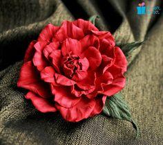 Leather flower, suede flower brooch, leather camellia flower