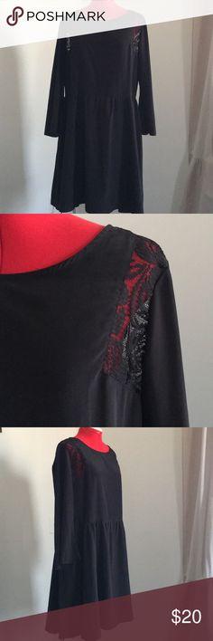 Black Boho Dress Xhilaration Black silky dress with lace detail and belled sleeves. Size XL Xhilaration Dresses
