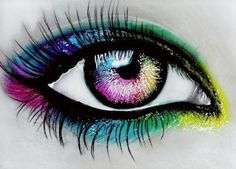 Pastel Eye by Amyshambles on DeviantArt Oil Pastel Drawings, Colorful Drawings, Art Drawings Sketches, Cute Drawings, Eyes Artwork, Drawing Eyes, Eye Painting, Amazing Drawings, Pastel Art