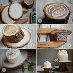 TurtleCraftyGirl: Rustic Wood Cake Stands--polyurethane on bark and bottoms, butcher block oil on top for food safety